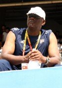 Aston Moore coaching track and field